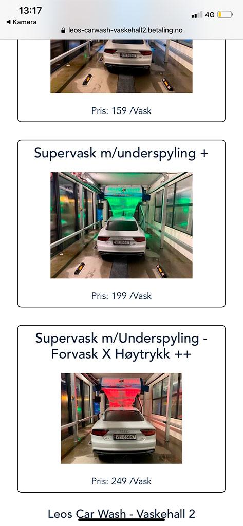 Skjermbilde på mobil som viser de ulike vaskeprogrammene som kan velges hos Leos Car Wash, Fredrikstad Østsiden